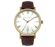 French Connection Herren Quarz-Uhr mit weißem Zifferblatt Analog-Anzeige und Bronze Lederband fc1268tg
