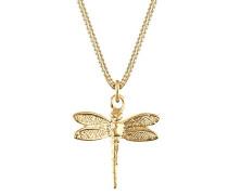 Damen Halskette mit Anhänger Libelle Insekt Tier Natur 925 Sterling Silber Vergoldet 45 cm