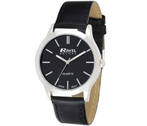 Herren-Armbanduhr  Mens Deluxe Classic Watch on a Genuine Leather Strap. Analog Leder Schwarz RD005.1GL