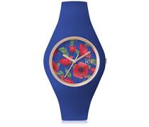 - ICE flower Royal - Blaue Damenuhr mit Silikonarmband - 001302 (Medium)
