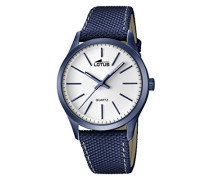 Lotus Herren Quarz-Uhr mit weißem Zifferblatt Analog-Anzeige und Blau Lederband 18166/1