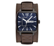 s.Oliver Herren-Armbanduhr Analog Quarz Leder SO-3048-LQ