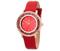 Armbanduhr für Damen mit Analog Anzeige, Quarz-Uhr und Lederarmband - Wasserdichte Damenuhr mit zeitlosem, schickem Design - klassische, elegante Uhr für Frauen - BM537-344 St. Lucia