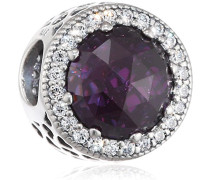 Damen-Bead Violettfarbener Strahlenkranz der Herzen 925 Silber Zirkonia lila - 791725NRP