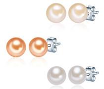 Valero Pearls Classic Collection Damen-Set: 3 Paar Ohrstecker Hochwertige Süßwasser-Zuchtperlen in ca.  7 mm Button champagner 925 Sterling Silber       60020076