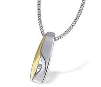 Damen-Halskette 925 Sterlingsilber gelb vergoldet 1 Diamant Bicolor-Schmuck