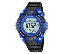 Unisex Armbanduhr Digitaluhr mit LCD Zifferblatt Digital Display und schwarz Kunststoff Gurt k5683/4