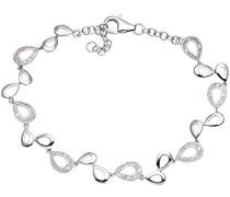 Damen-Armband tränenförmiges Glieder 375 Weißgold rhodiniert Diamant (0.10 ct) weiß Rundschliff 1.9 cm - PBC02461W
