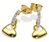 Goldmaid Damen-Ohrhänger 9 Karat 375 Gelbgold Herzen 6 Diamanten SI/H 0,03 ct. He O3702GG375