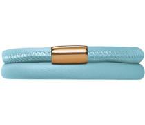 Damen-Armband Light Blue 2-reihig Edelstahl teilvergoldet Leder 57.0 cm - 12511-57