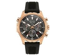 Marine Star 97B153 - Herren Designer-Armbanduhr - Chronograph mit Sport-Gummiarmband - wasserdicht - Roségoldfarben
