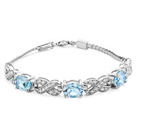 Damen-Armband 925 Sterling-Silber Ovalschliff Blau Topas