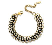 Costume Collection Damen-Halskette mit Anhänger, Schwarz und Gold farbig gewebtem Armband von 17-22 cm