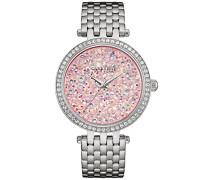 Caravelle New York 43L194 Silver Glitz Damen-Quarz-Armbanduhr, mit rosa Zifferblatt, Analog-Anzeige und Silberfarbenem Edelstahl-Armband