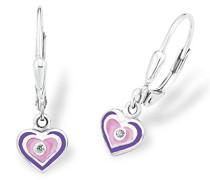 Prinzessin Lillifee Kinder-Ohrhänger Herzen 925 Silber rhodiniert Emaille lila pink Zirkonia weiß