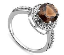 Damen-Ring 375 Weißgold ovale Rauchtopas Brillanten