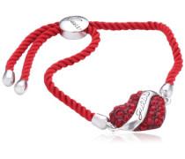 Damen-Armband Metall Textil mit Herzanhänger UBB12117