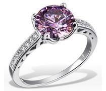 Damen-Ring Purple Fancy 925 Sterlinsilber gesetzt mit 16 weißen und einem lilanen Swarovski Zirconia