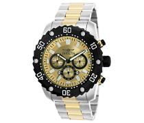 Pro Diver Herren-Armbanduhr Chronograph Quarz Edelstahl beschichtet - 22519