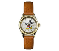 Disney Women's Union Quartz Watch with Gold Dial and Tan Leather Strap ID00901