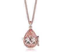 Premium Damen Kette mit Anhänger Herz Liebe Amulett 925 Sterling Silber Swarovski Kristall Brillantschliff rosa 45 cm 0103142316