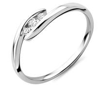 Damen-Ring 9 Karat (375) Weißgold Diamant (0,1 ct)-Arabeske