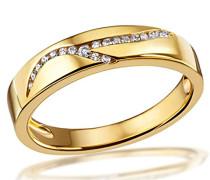 , Damen-Ring Gelb Gold 333 Memoire,18 Zirkonia, Zi R3101GG54, Grösse 54 Schmuck