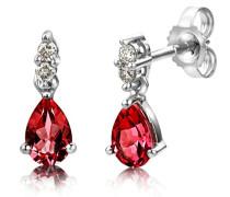 Damen-Ohrring 9 Karat (375) weißgold Rubin