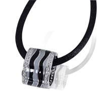 Damen-Halskette 925 Sterlingsilber Black Lack 70 weiße Zirkonia Kettenanhänger Schmuck