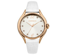 –m1217wrg Damen-Armbanduhr 045J699Analog silber–Armband Leder Weiß