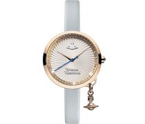 Vivienne Westwood Schleife Damen Quarzuhr mit Silber Zifferblatt Analog-Anzeige und Blau Lederband vv139rsbl