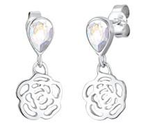 Damen-Ohrhänger Blume Tropfen 925 Silber weiß Facettenschliff - 0301581117