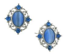 Perlenanhänger Silber Saphir Kristall, Ton und blauen Knopf Ohrringe