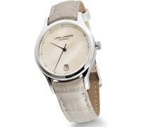 Clara Women'- Armbanduhr Pearl Dial Analog-Anzeige und weiße Lederband 139SMPL