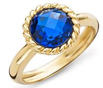 Damen-Ring 9 Karat ( 375 ) Gelbgold Saphir Stein 2.5ct. Quarz blau Rundschliff