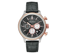 Herren-Armbanduhr XL Chronograph Quarz Leder A21031G