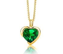 Damen-Kette Mit Anhänger 925 Sterling- Silber Herzschliff Grün Synthetischer Smaragd 45cm
