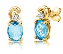 Damen-Ohrstecker 925 Sterling- Silber Ovalschliff Blau Topas