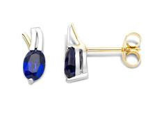 Damen-Ohrstecker 9 Karat (375) Gelb-/Weißgold Saphir Blau