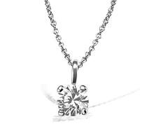 Damen-Kette mit Anhänger Solitär Jana Solitär Halskette Jana 0.10 ct. 585 Weißgold Diamant (0.10 ct) weiß Brillantschliff Schmuck Diamantkette