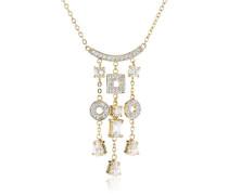 Damen-Halskette mit Anhnger Vergoldetes Metall mit Cubic Zirkonia wei PK-011