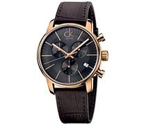 Calvin Klein Herren-Armbanduhr Chronograph Quarz Leder K2G276G3