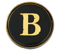 Anstecker / Abzeichen, rund, mit aufgedrucktem Alphabet-Einsatz