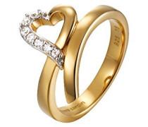 Damen-Ring 925 Sterling Silber rhodiniert Glas Zirkonia Arabesque Coeur weiß