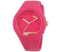 Puma Time Damen-Armbanduhr PU-FORM RASPBERRY GOLD Analog Quarz Silikon PU103001015