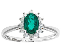 Damen-Ring Weißgold Piqué I (P1) Smaragd