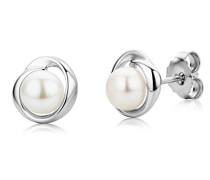 Damen-Ohrstecker 925 Sterling Silber Süßwasserzuchtperlen 925 Silber rhodiniert Perle weiß Rundschliff Süßwasser-Zuchtperle Weiß