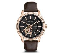 Automatic 97A109 - Herren Designer-Automatikuhr - Armband aus Leder - Zifferblatt in Schwarz und Roségoldfarben