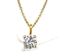 Damen-Kette mit Anhänger Solitär Jana Solitär Halskette Jana 0.15 ct. 585 Gelbgold Diamant (0.15 ct) weiß Brillantschliff Schmuck Diamantkette