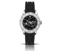 Damen-Armbanduhr Analog Silikon schwarz 4610.27